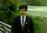 生中継で滝から落ちる男性を撮影